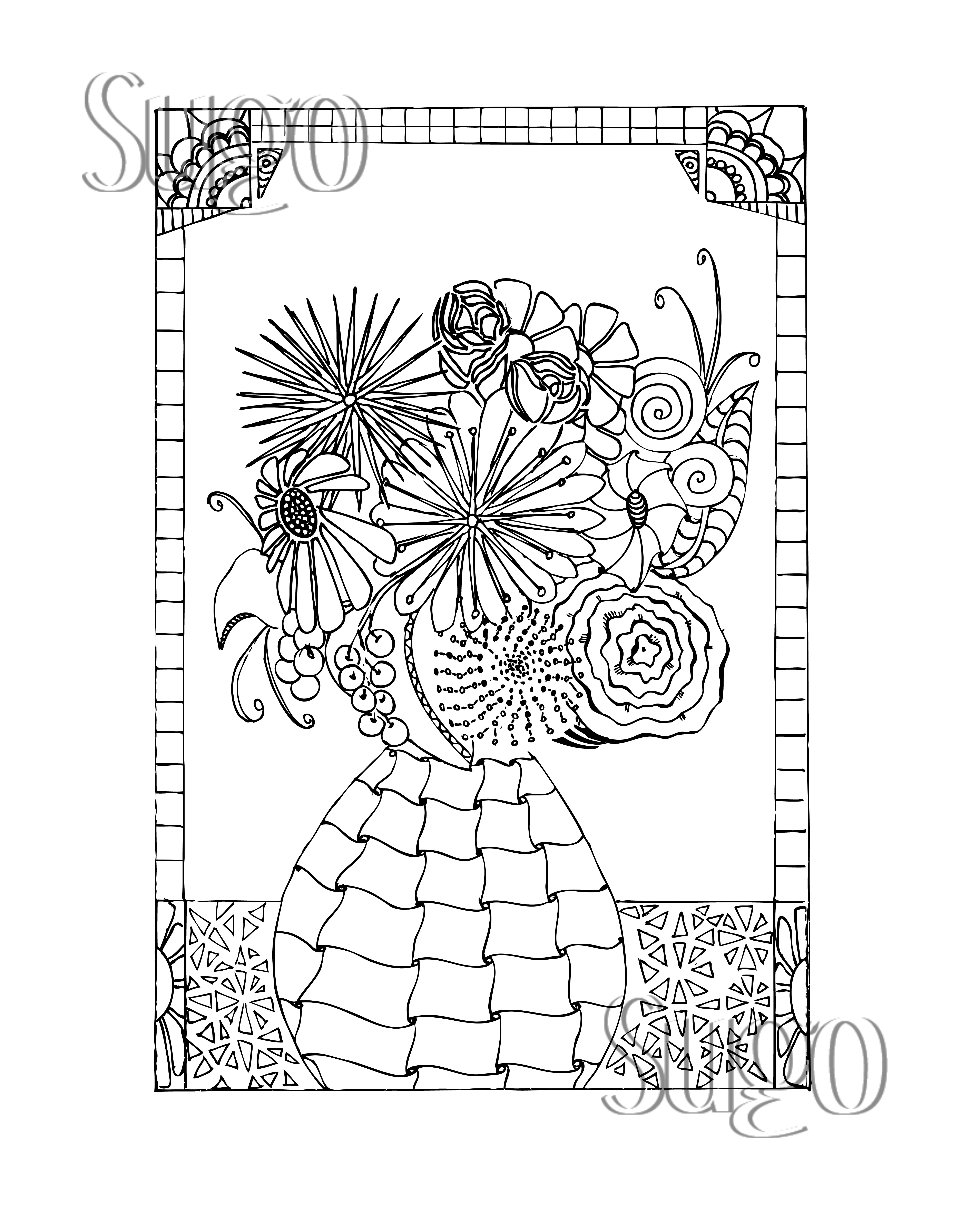 Flower vase coloring pages for Flowers in vase coloring pages